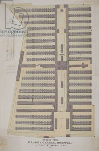 Ground plan; U.S. Army General Hospital at West Philadelphia, Pa., 1862 (litho)