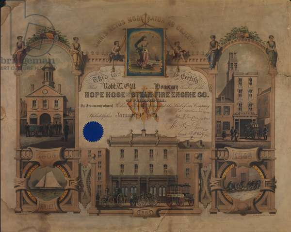 Hope Hose and Steam Fire Engine Company certificate, c.1871 (hand-coloured litho)