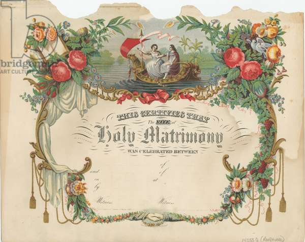 Marriage certificate, printed by P.S. Duval & Co., c.1868 (chromolitho)