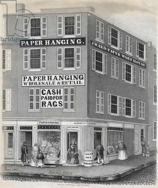 Western Paper Hangings Establishment, 501 Market Street, Philadelphia, printed by Bryson & Cooper, June 1847 (litho)
