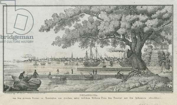 Philadelphia, von dem grossen Baume zu Kensington aus geschen, unter welchem William Penn den tractat mit den Indianern abschloss, c.1850 (litho)