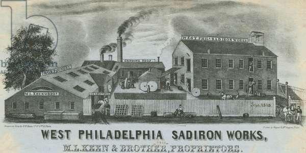 West Philadelphia Sadiron Works, M.L. Keen & Brother, Proprietors, printed by Wagner & M'Guigan, September 1848 (litho)