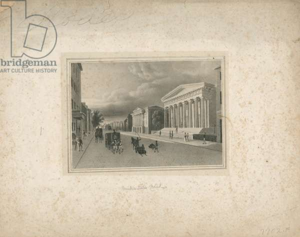 United States Bank, 1837 (litho, printed on chine colle & mounted on wove paper)