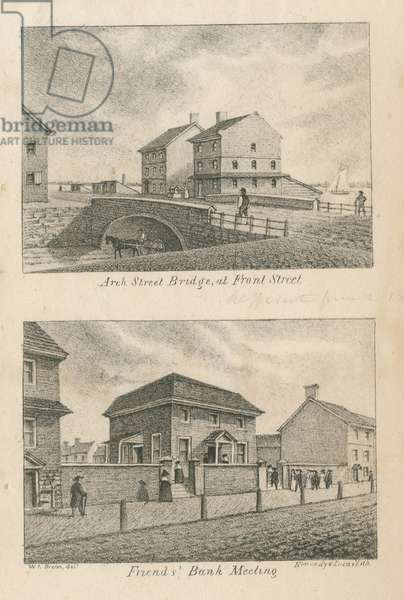 Arch Street Bridge at Front Street ; Friends' Bank Meeting, printed by Kennedy & Lucas's Lithography, 1830 (litho)
