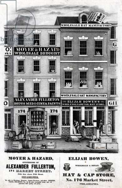 Moyer & Hazard, successors of Alexander Fullerton, 174 Market Street, fifth door above Fifth Street, Philadelphia, printed by Wagner & M'Guigan, c.1846 (litho)