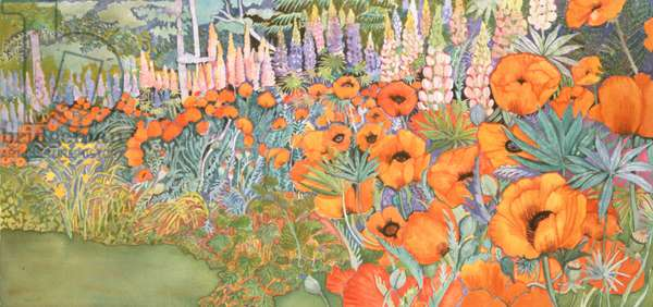 Poppy Border (watercolour)