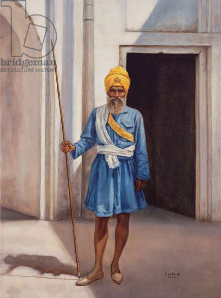 Akhali Sikh at the Red Fort, Delhi, 1977 (oil on canvas)