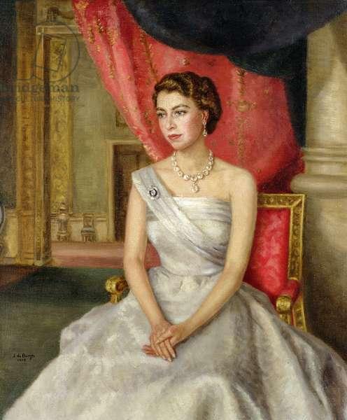Queen Elizabeth II (b.1926) (oil on canvas)