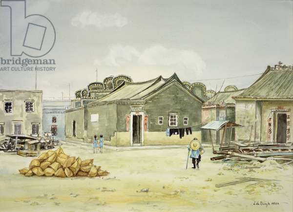 Old China, Village in Hong Kong, New Territories (Yuen Long) 1971 (w/c on paper)