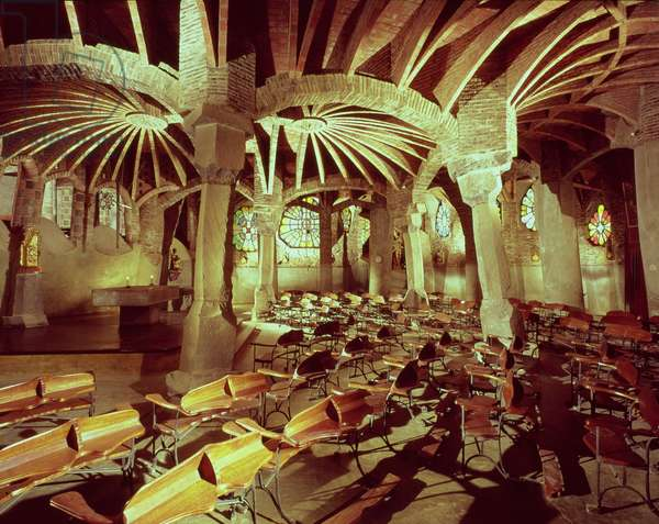 Guell Crypt with its 'tilted column', built by Antonio Gaudi (1852-1926) in 1908-15 (photo)