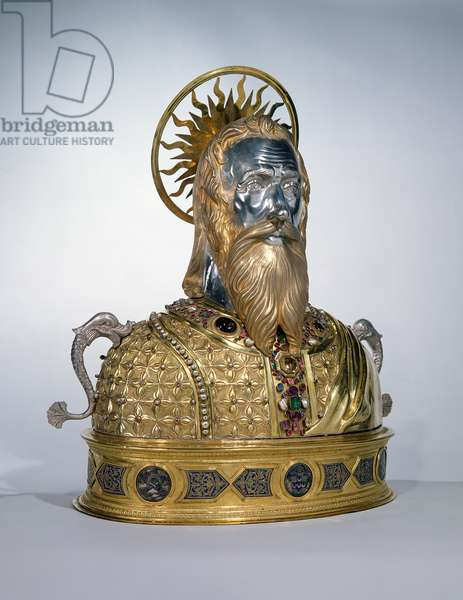 Reliquary of St. Andrew the Apostle, silver with gold plate, pearls, over 200 gems and 6 emeralds set on a bronze base (also see 58558)