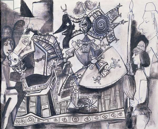 Chevalier, Page et Moine, 1951 (oil, Chinese ink & mixed media on board)
