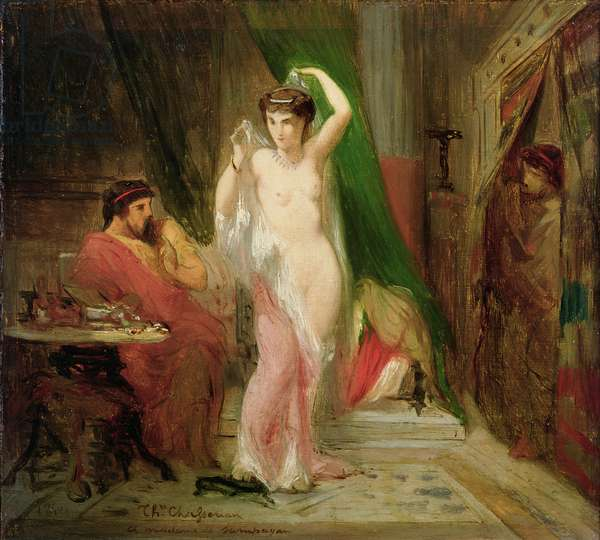 Candaule, King of Lydia, Showing the Beauty of his Queen to his Confidant Gyges, 1850 (oil on panel)