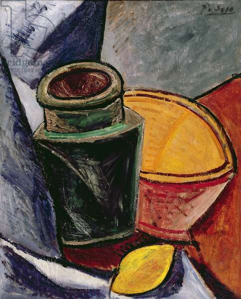 Pitcher, Bowl and Lemon, 1907 (oil on panel)