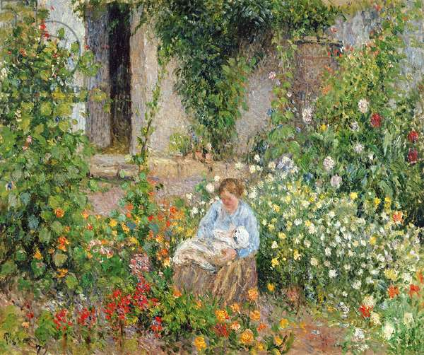 Mother and Child in the Flowers, 1879 (oil on canvas)