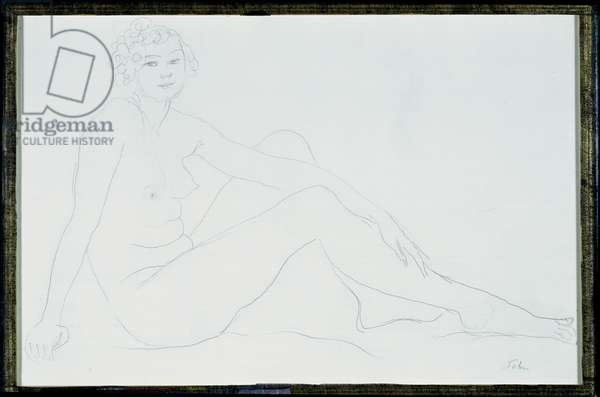 Nude Girl (black ink & w/c on paper)