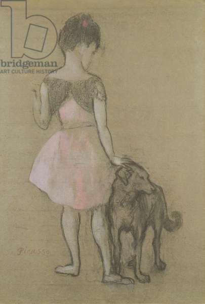 Little Girl and Dog, 1905 (pastel and gouache on paper)