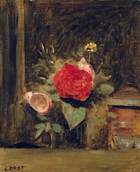 Bouquet of Flowers in a Glass beside a Tobacco Pot, c.1873-74 (oil on canvas)
