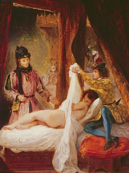 The Duc d'Orleans Showing his Mistress to the Duc de Bourgogne (oil)