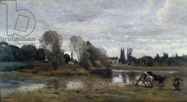 Ville d'Avray, Horses Watering, c.1860-65 (oil on canvas)