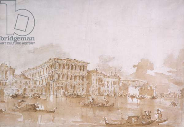 The Grand Canal with the Ca' Pesaro, Venice (chalk with pen & ink and brown wash on paper)