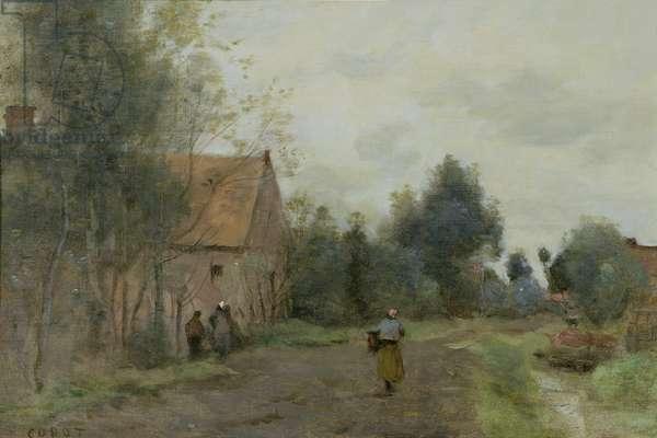 Sin near Douai, Village Street in the Morning, Grey Weather, 1872 (oil on canvas)