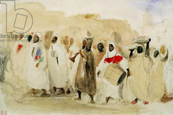 Procession of Musicians in Tangier (w/c & pencil on paper)