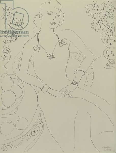 Drawing of a Seated Woman, 1944 (pen & ink)