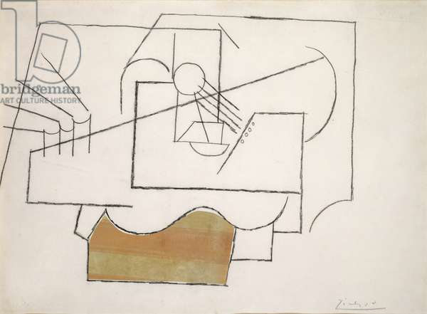 Guitar on a Table, 1912 (charcoal and pasted paper on cardboard)