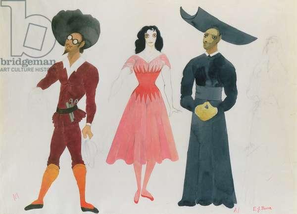 Costume design for Don Quixote; Flo, Lady Dulcinea and a Priest, 1949 (w/c on paper)