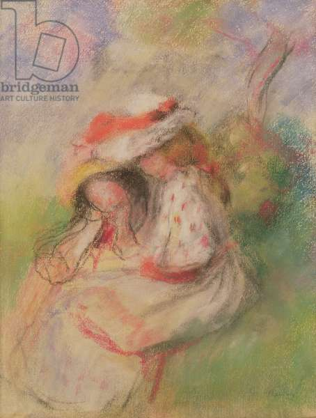 Two Young Girls in a Garden, c.1885 (pastel)