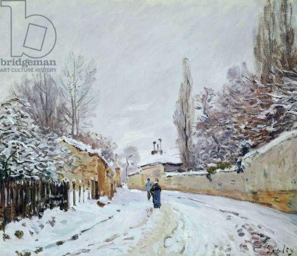 Road under Snow, near Louveciennes, 1876 (oil on canvas)