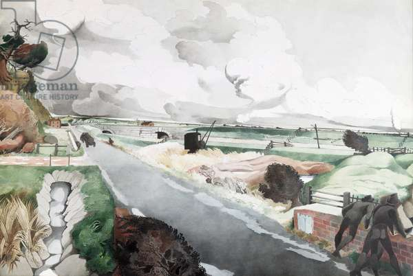 Romney Marsh with the Royal Military Canal, c.1963 (w/c on paper)