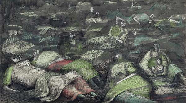Figures in a Shelter, 1941 (w/c on paper)