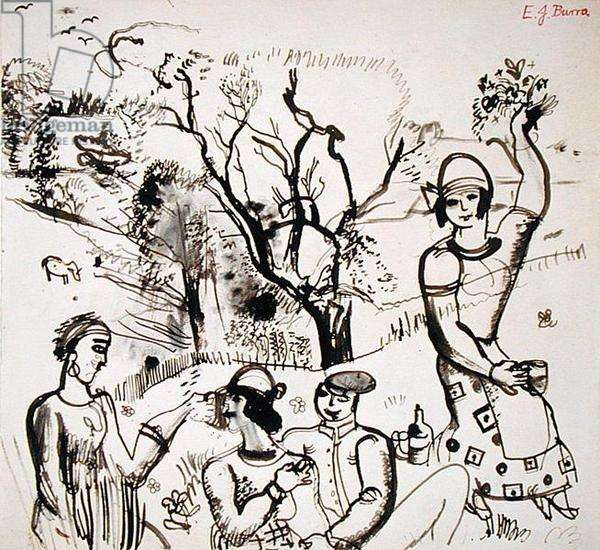 The Picnic, c.1923 (wash on paper)