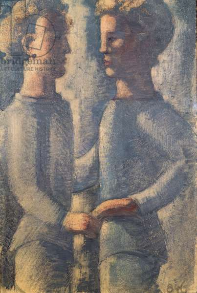 Two Friends, 1936 (pencil, tempera & oil on panel)