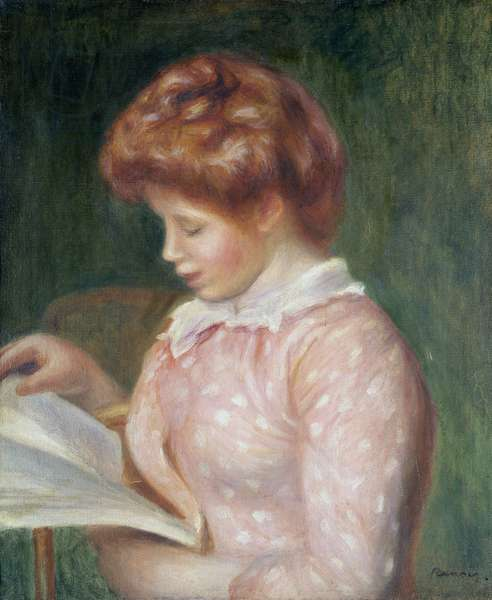Young Girl Reading (oil on canvas)