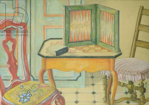 Interior with Backgammon, 1987-88 (gouache)