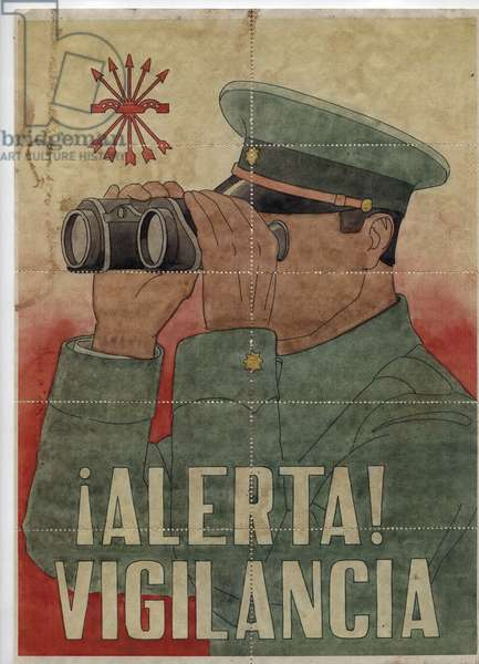Spanish War (1936-1940): a military man watches the horizon with binoculars, with the acronym of the Spanish phalanges - Prevoupee of Capones de racionamento (rationing coupons, exchange vouchers, paper with no value of money to replace banknotes, issued after the Civil War, from 1940), 21x29,7 cm, divisible in coupons of 10 coupons to cut, Spain, 1936-1939