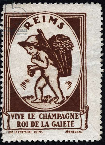 Long live the champagne, king of the gaite: a little boy naked, carries the basket of harvest while eating grapes - Vignette illustree, claimed for Le Champagne de Reims (France), 20th century