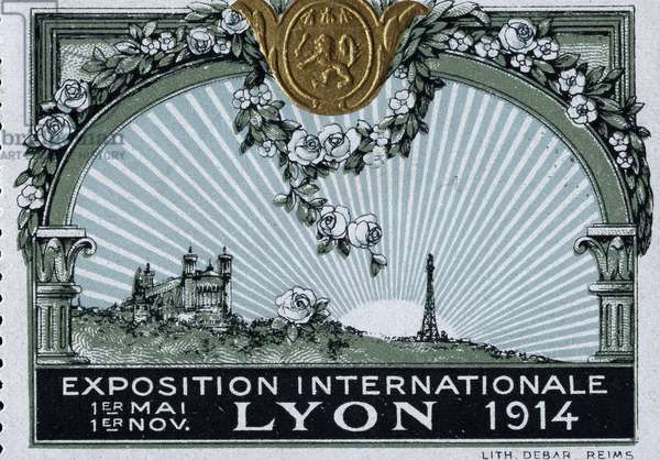 The Cathedrale Notre Dame de Fourviere, in Lyon and the Eiffel Tower, in Paris, reunited under the rising sun - Vignette illustree, reclaimed for the International Exhibition of Lyon, 1914