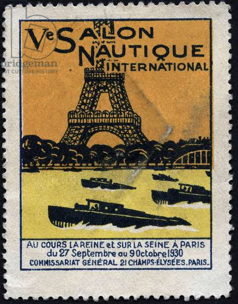 Boats sail on the Seine at the foot of the Eiffel Tower - Vignette illustree, claimed for the 5th international nautical show, Paris, 1930