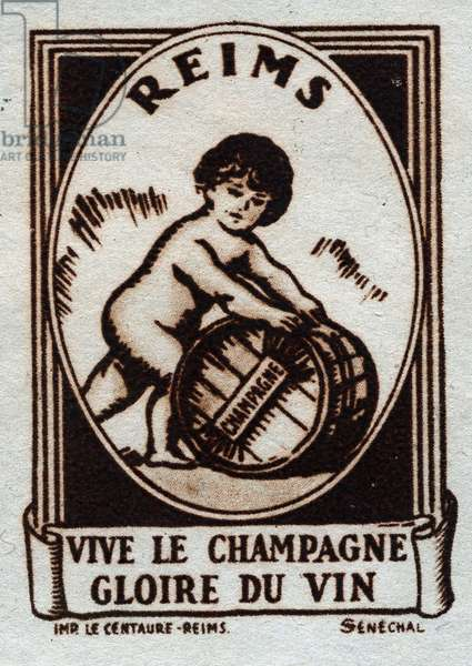 Long live champagne, glory of wine: a little boy naked, rolls a barrel - Vignette illustree, claimed for Le Champagne de Reims (France), 20th century