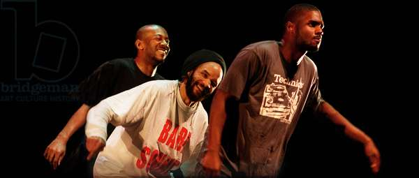 Tap dancer Savion Glover and crew performing in his new show 'Bare Soundz'
