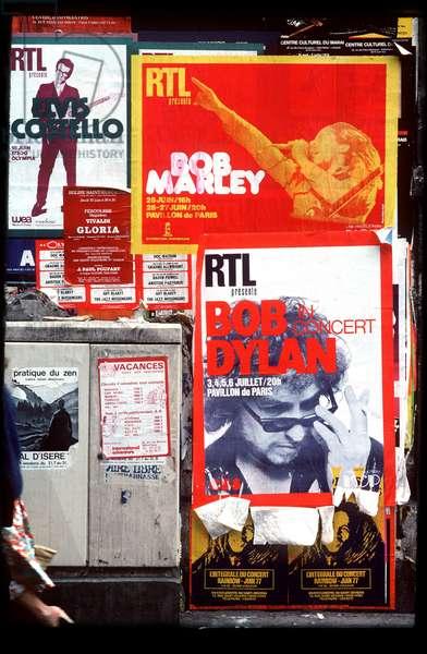 Rock concert posters in