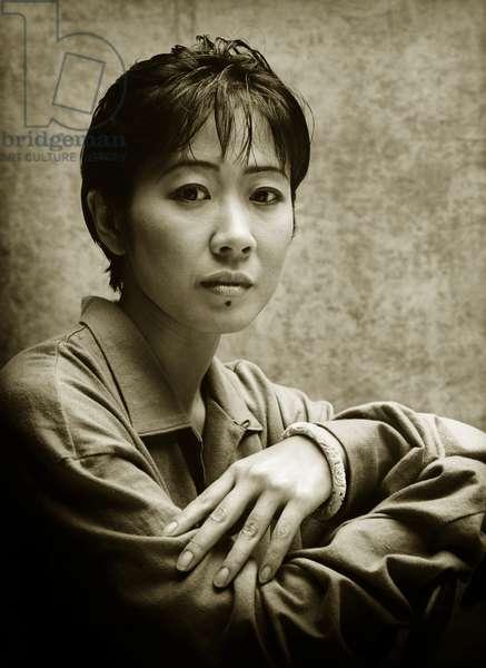 Portrait of the artist Yuka Fujii (b/w photo)