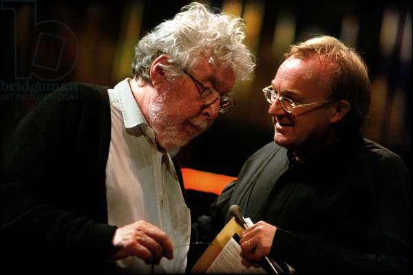Martyn Brabbins discussing 'The Mask of Orpheus' with composer Sir Harrison Birtwistle at Prom 39, Royal Albert Hall, London, 14 August 2009