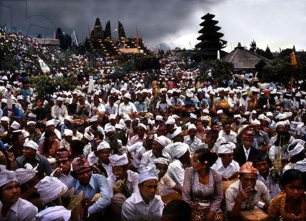 Eka Dasa Rudra, The 100 Year Festival, on Pura Besakih, by active volcano Mount Agung, Bali, 1979 (photo)