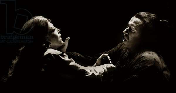 Josephine Barstow as Odabella and Ruggero Raimondi as Attila, in an ENO production of 'Attila' (b/w photo)