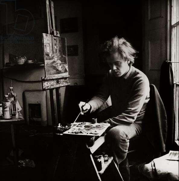 Edmund Fairfax-Lucy working at home in Camden, Camden Road, London, UK, 1971 (b/w photo)